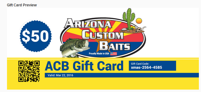Arizona Custom Baits - Gift Cards
